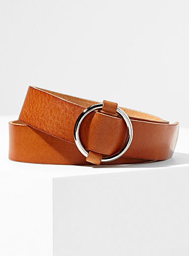 Patina leather belt