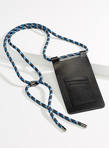 Simons Black Genuine leather phone pouch for women