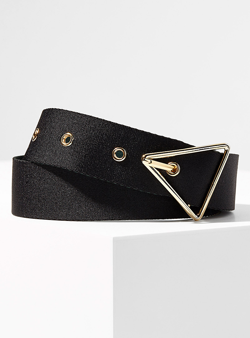 Simons Black Triangle buckle two-tone belt for women