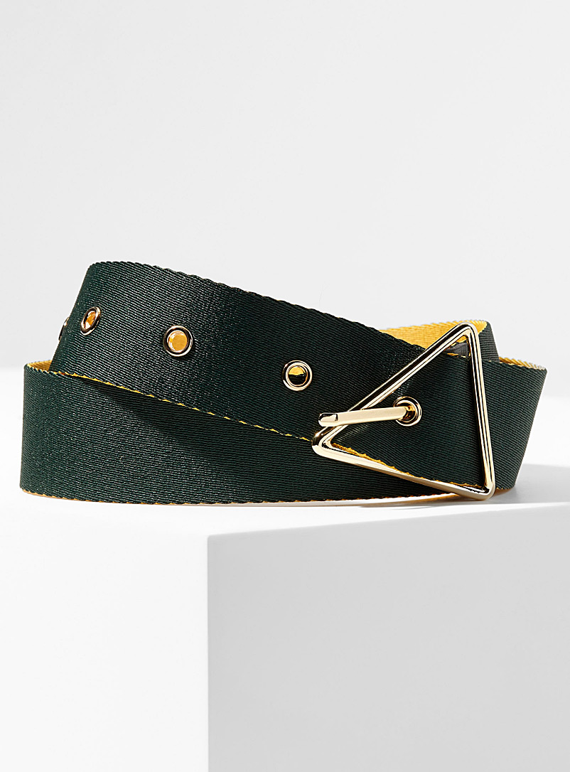 Simons Green Triangle buckle two-tone belt for women