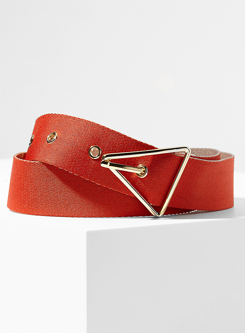 Simons Orange Triangle buckle two-tone belt for women