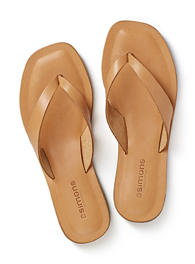 Genuine leather flip-flops