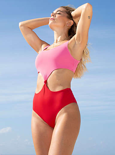 Colour block tied one-piece
