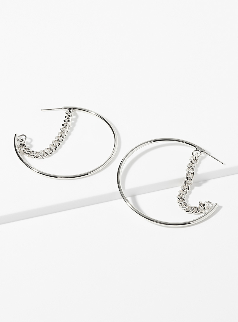 Suspended chain hoops - Earrings - Silver