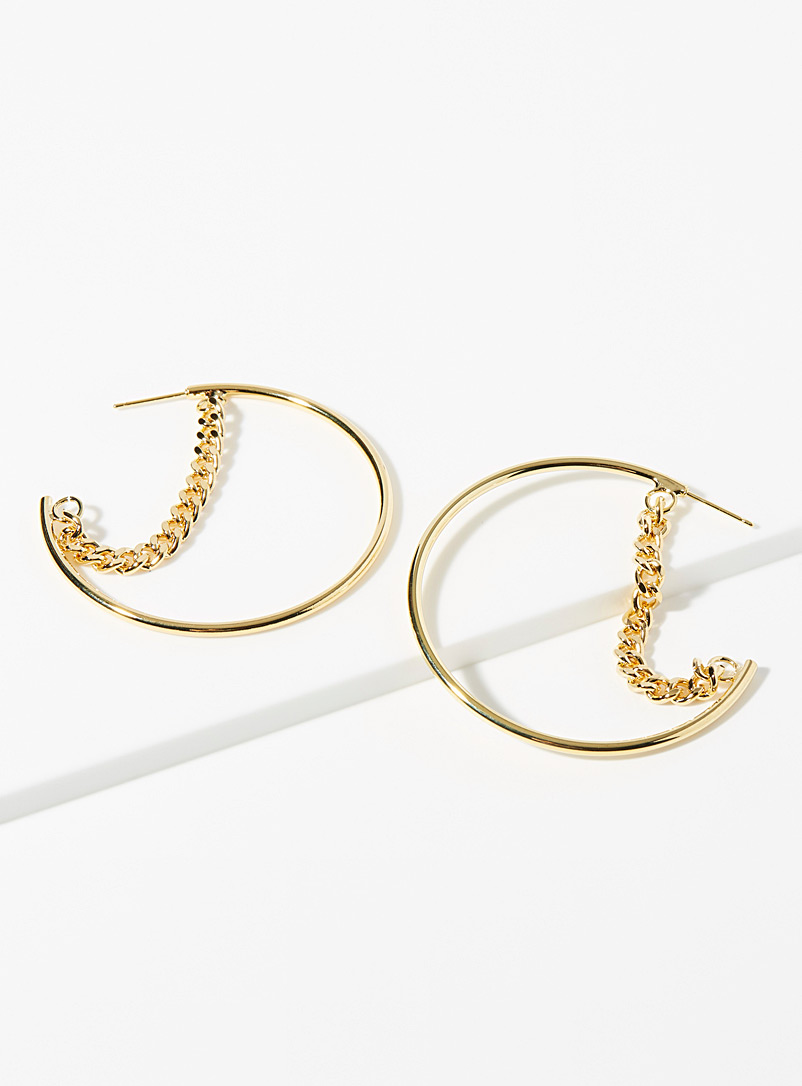 Suspended chain hoops - Earrings - Gold