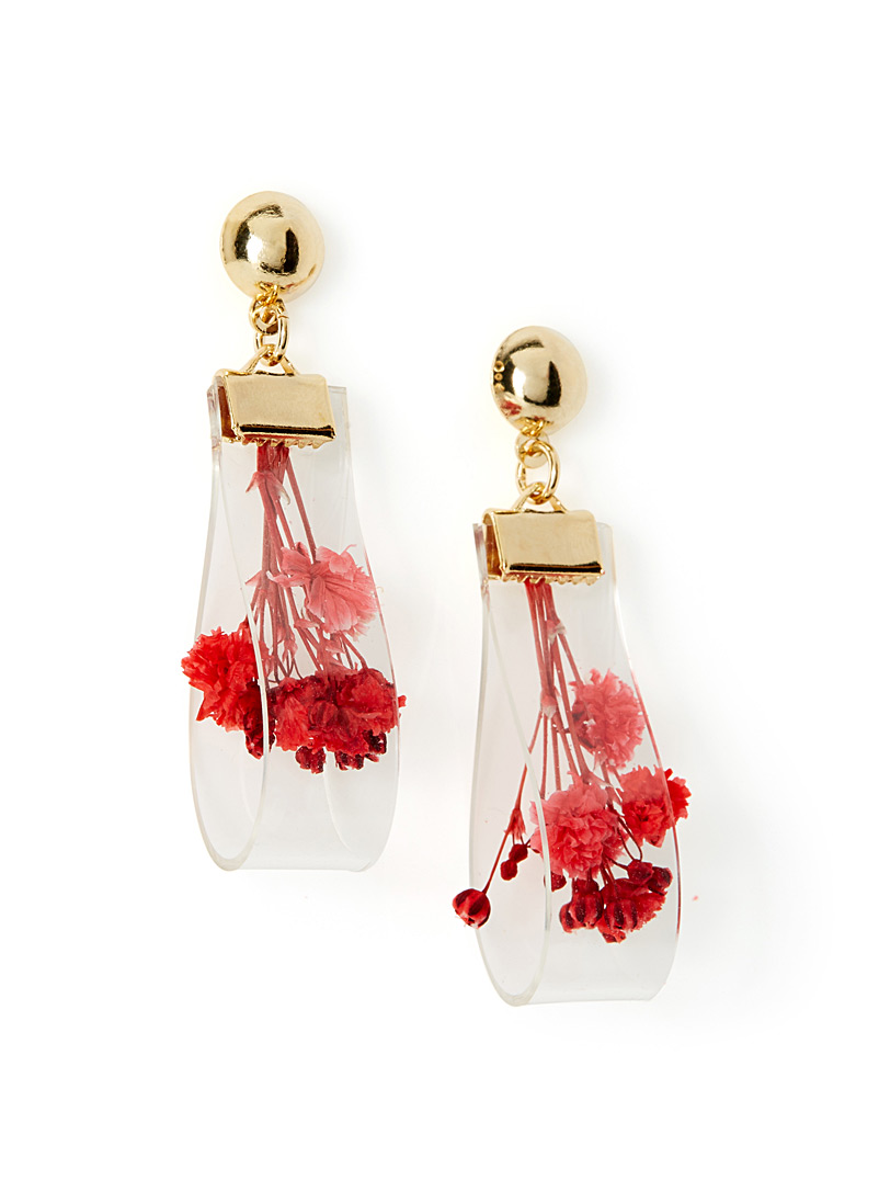 Dried flower earrings - Earrings - Pink