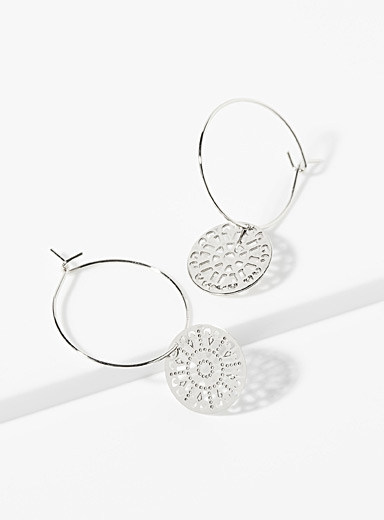 Simons Silver Mandala hoops for women