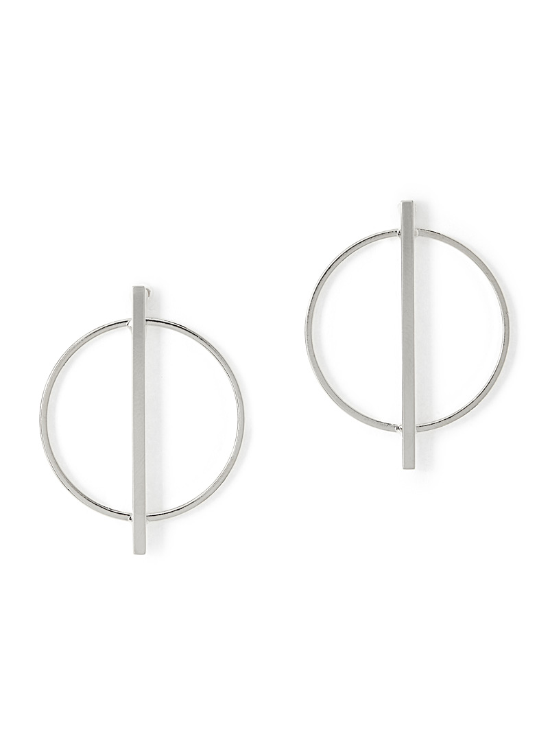 Simons Silver Crossed hoop earrings for women