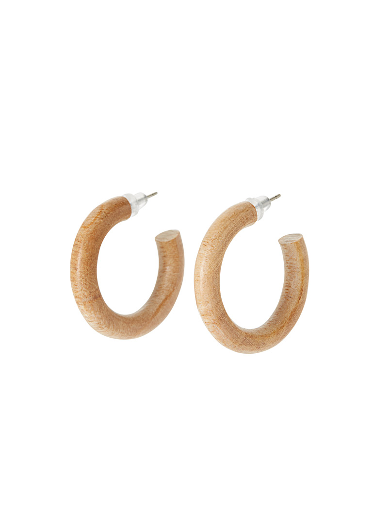 Small wooden hoops - Earrings - Brown