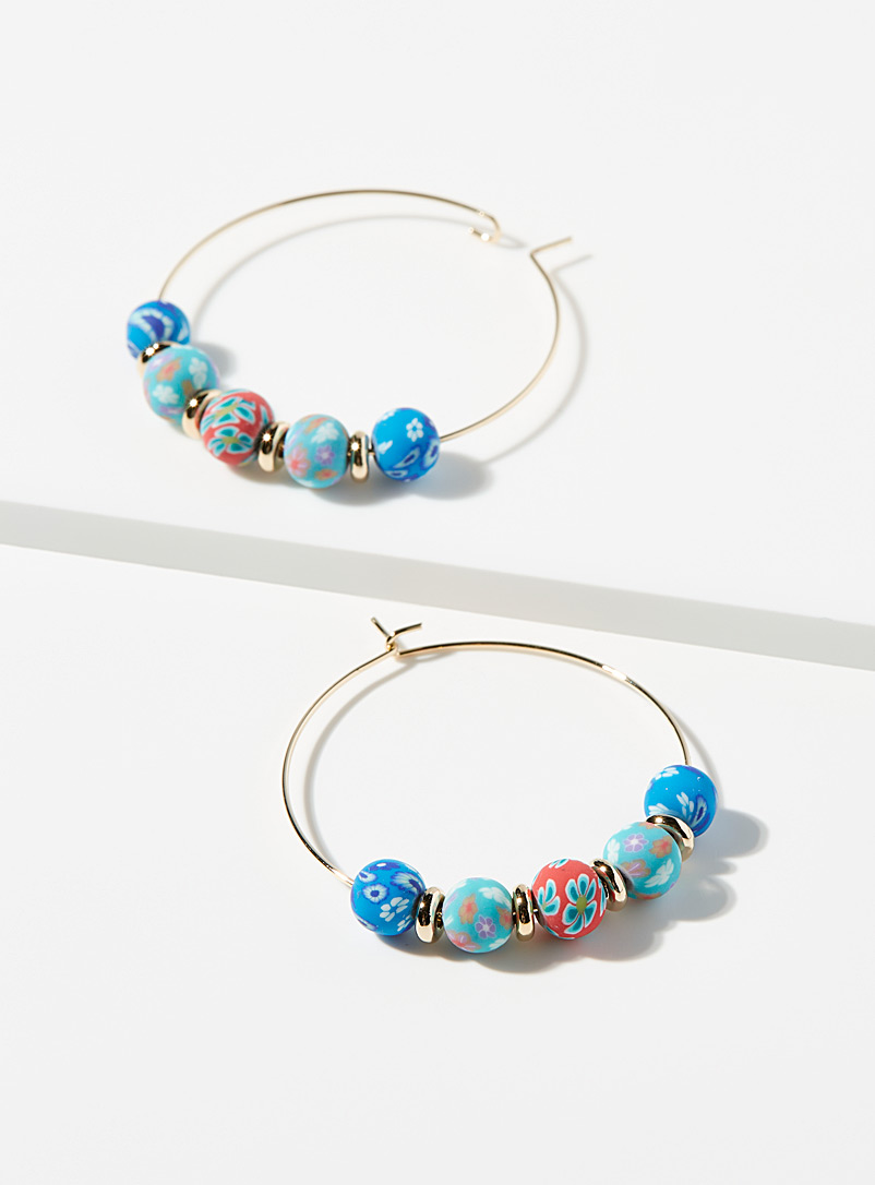 Simons Assorted Floral bead hoops for women