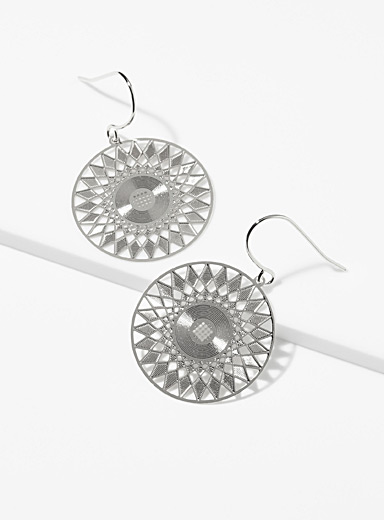Simons Silver Mandala earrings for women