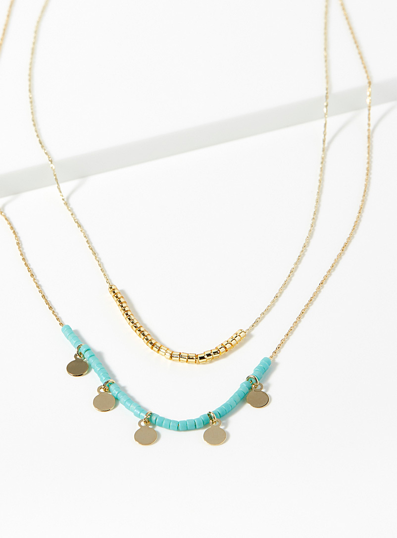 Turquoise lagoon multi-tier necklace - Necklaces - Golden Yellow