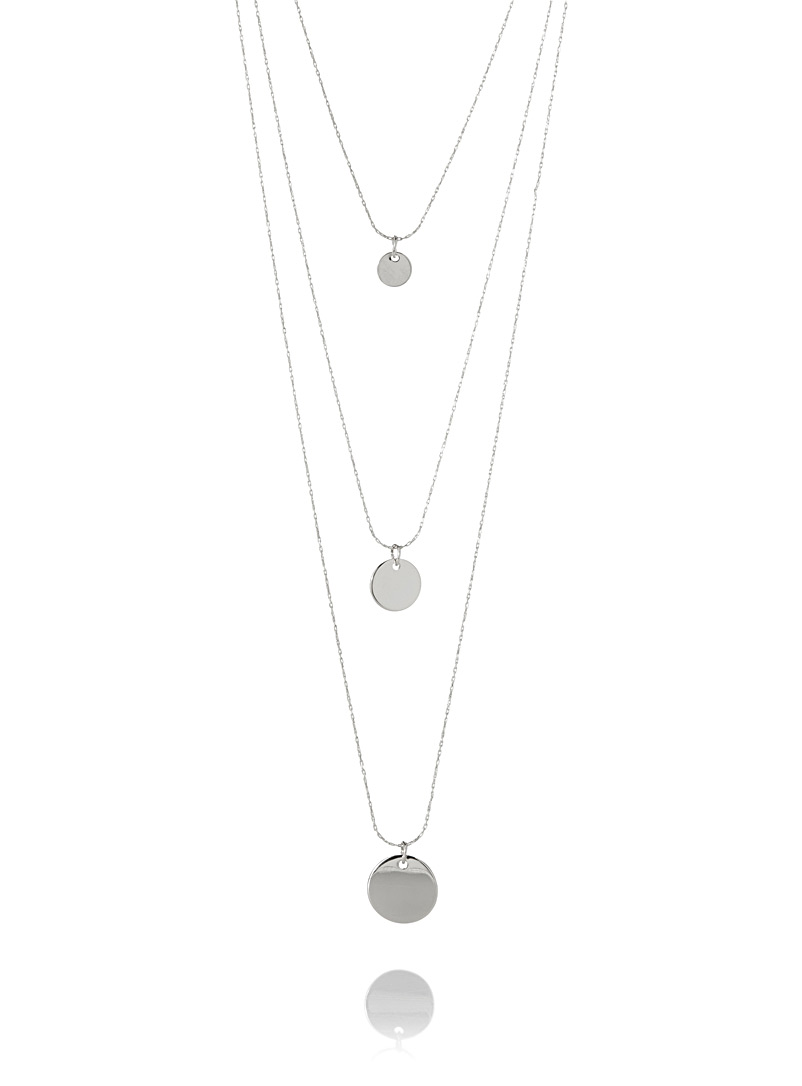 Disc and chain necklace - Necklaces - Silver