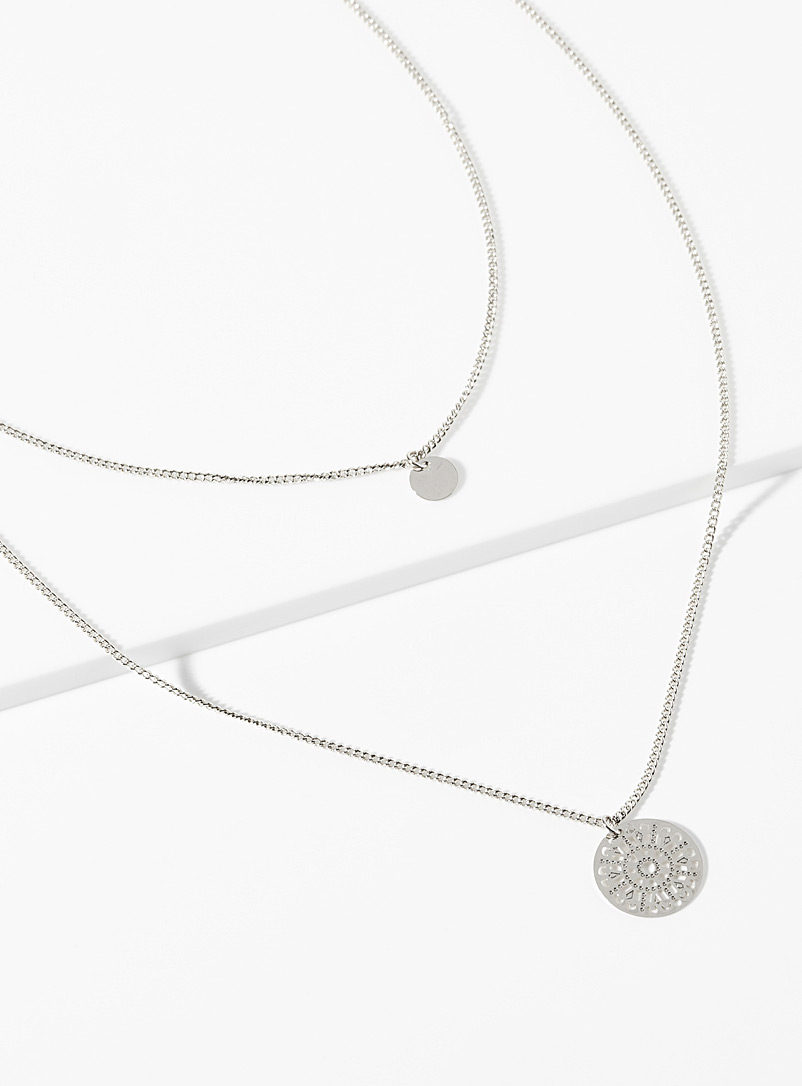 Simons Silver Mandala two-row necklace for women