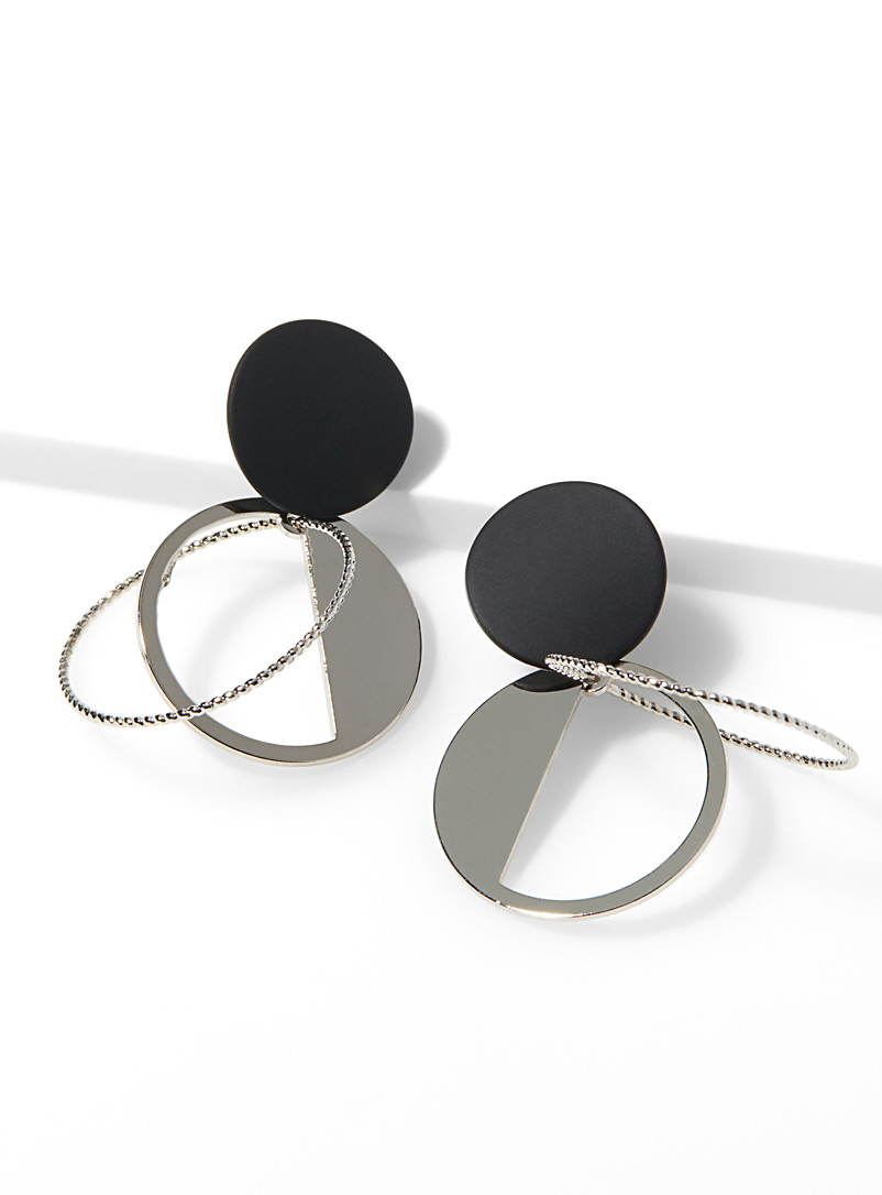 Mobile-like earrings - Earrings - Patterned Black