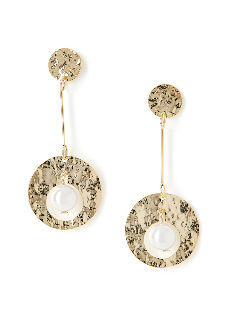 Hammered disc and pearl earrings - Earrings - Assorted