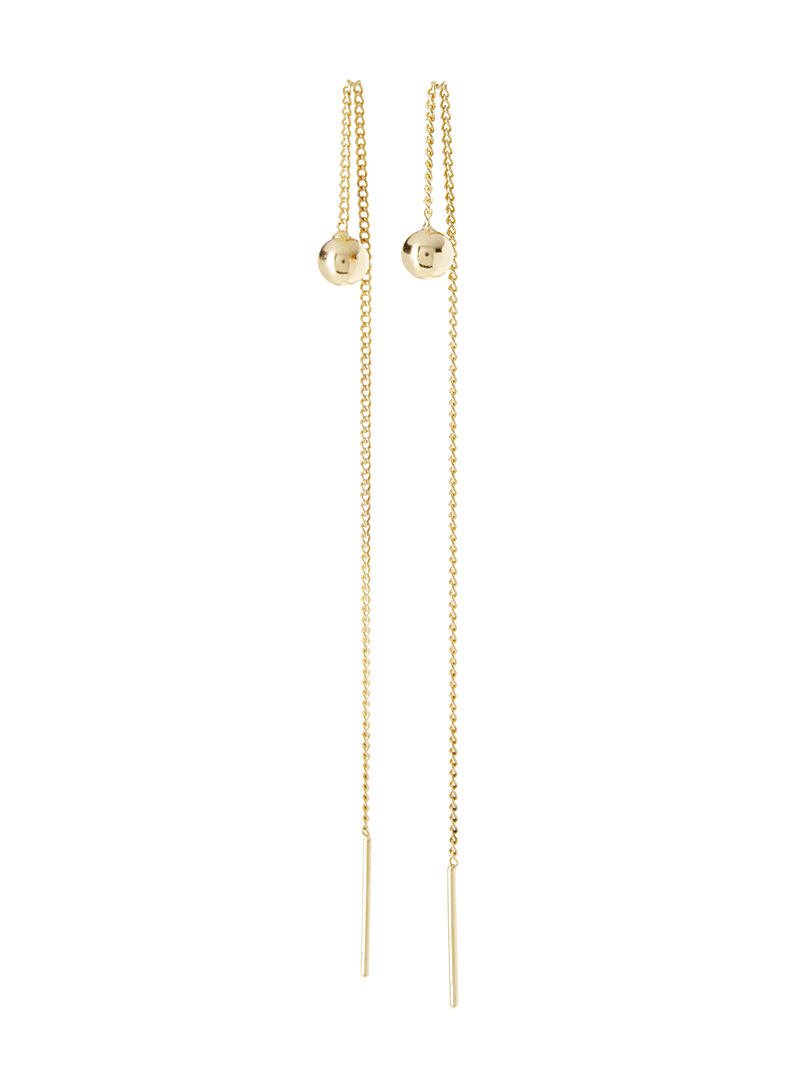 Simons Silver Chain and bead earrings for women