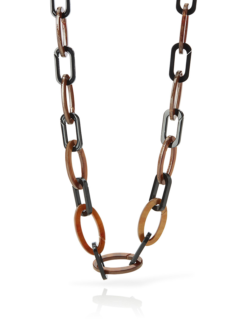Two-tone chain necklace - Necklaces - Patterned Black