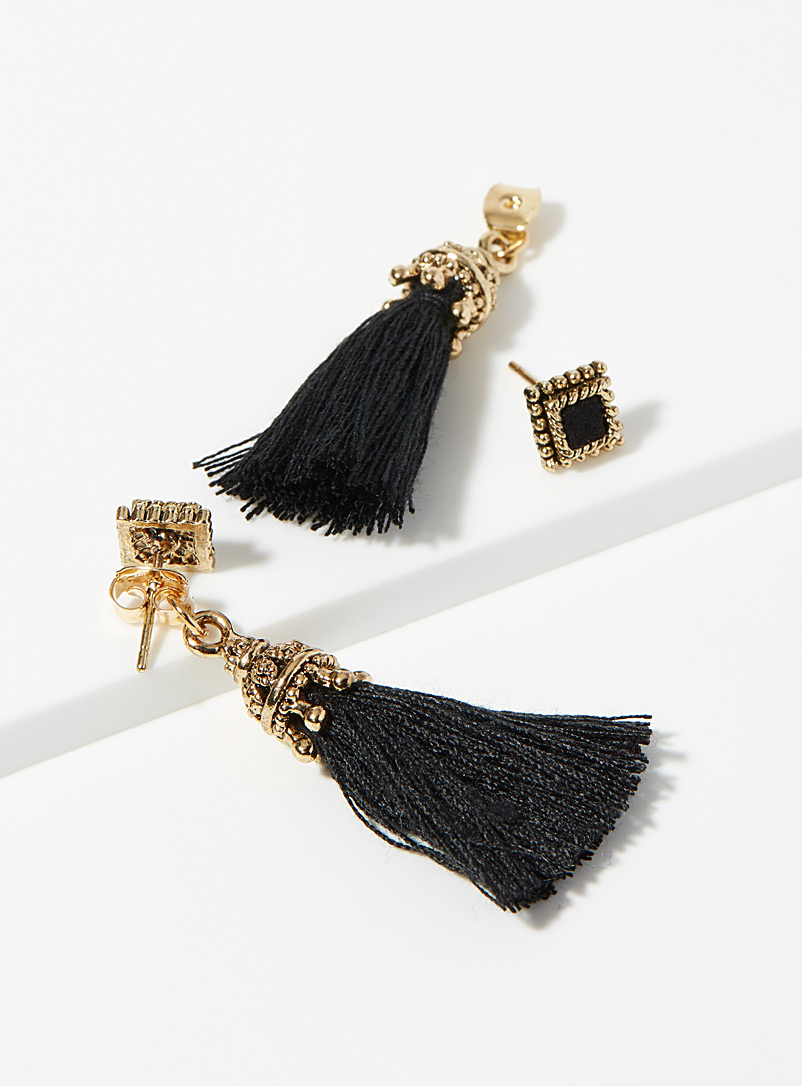 Simons Black Vintage tassel square earrings for women