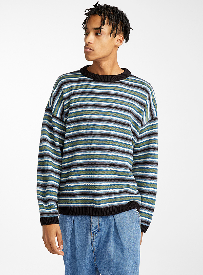 Djab Black Loose jacquard stripe sweater for men