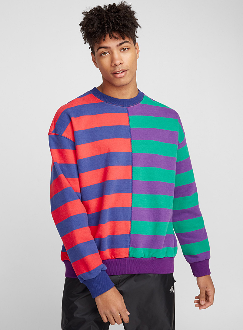 Half-and-half striped sweatshirt - Sweatshirts & Hoodies - Assorted