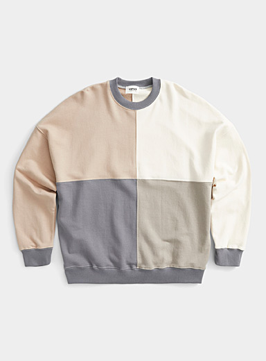 Djab Cream Beige Neutral check sweatshirt for men