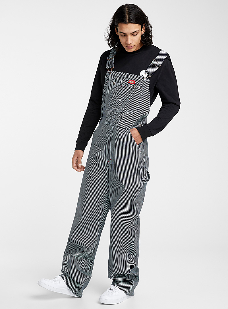 Dickies Patterned Blue Carpenter striped overalls for men