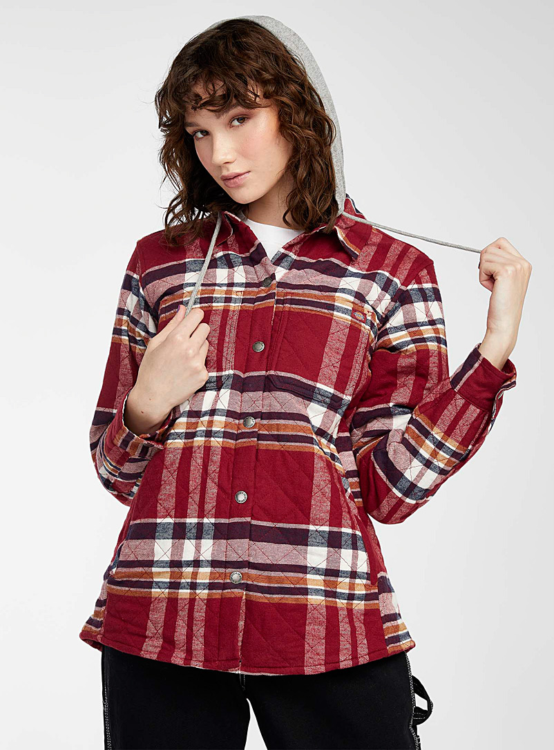 Dickies Patterned Red Hooded check flannel jacket for women