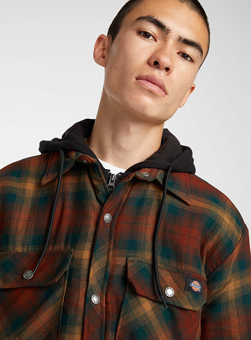Dickies Patterned Green Hooded check overshirt for men