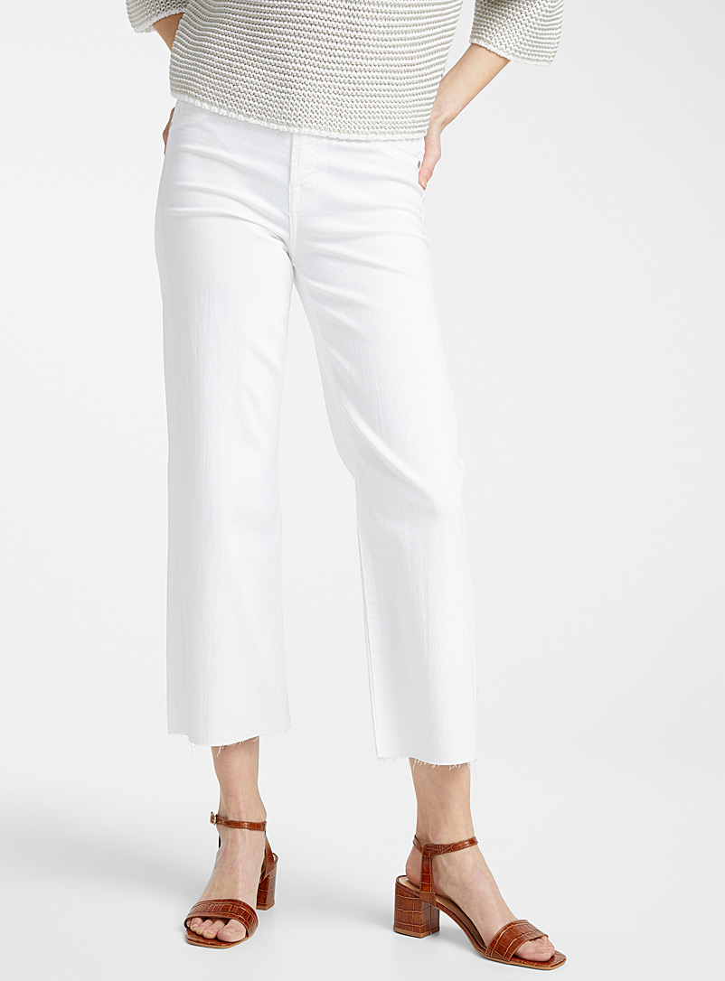 7 For All Mankind White White Alexa cropped jean for women