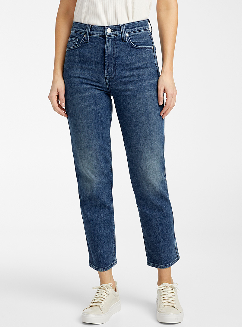 Medium faded cropped straight jean