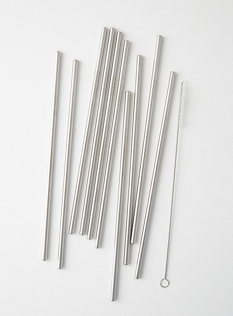 Simons Maison Assorted Stainless steel reusable straws  Set of 10