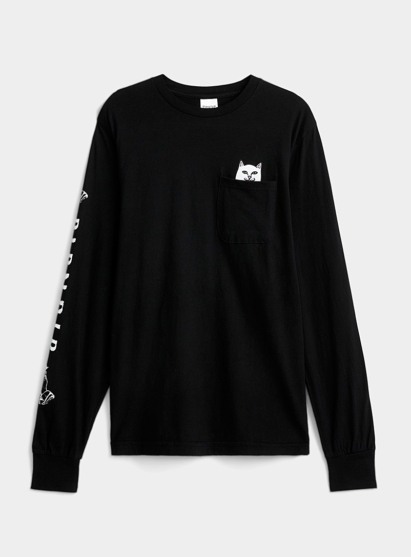 RIPNDIP Black Rebel cat pocket T-shirt for women