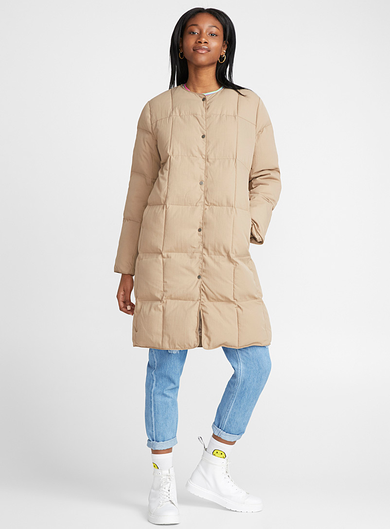 Mega check puffer jacket - Quilted and Down Jackets - Light Brown