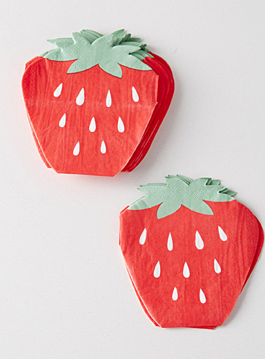 Glowing strawberry paper napkins  24 x 28 cm. Pack of 20.