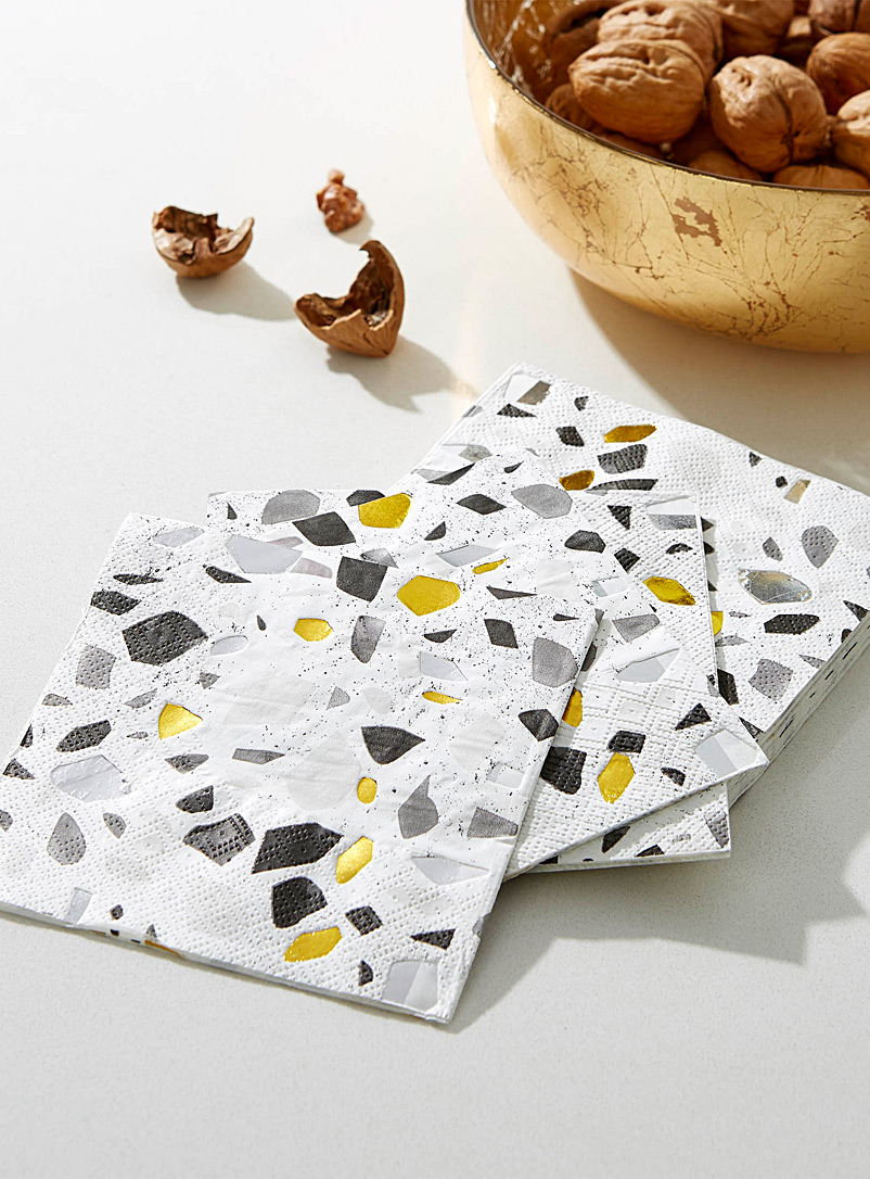 Terrazo paper napkins  25 x 25 cm. Pack of 20. - Paper - Black and White