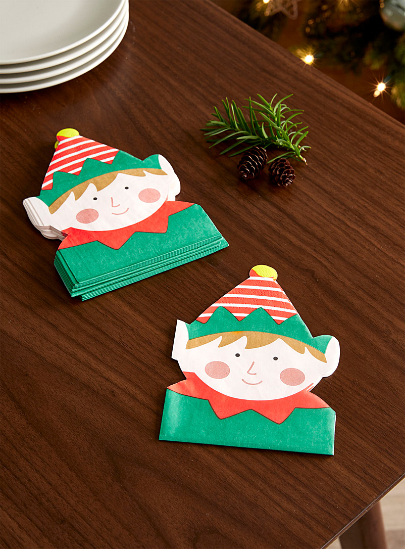 North Pole's elf paper napkins  11.5 x 15.5 cm. Pack of 20. - Paper - Assorted