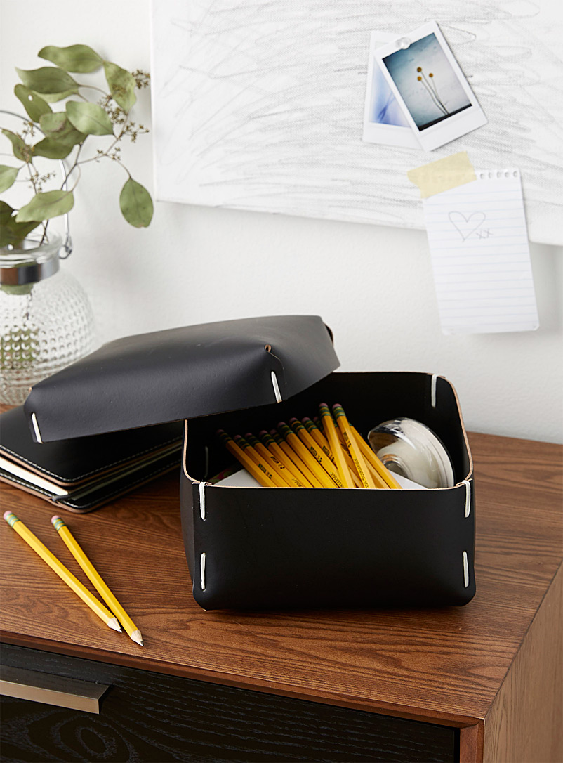 Recycled leather storage box - Baskets & Storage - Black