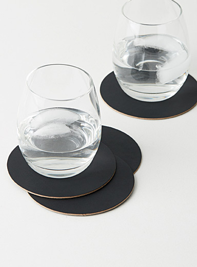 Recycled leather coasters  Set of 4