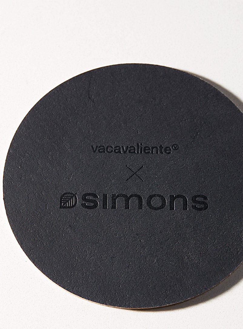 Vacavaliente Black Recycled leather coasters  Set of 4