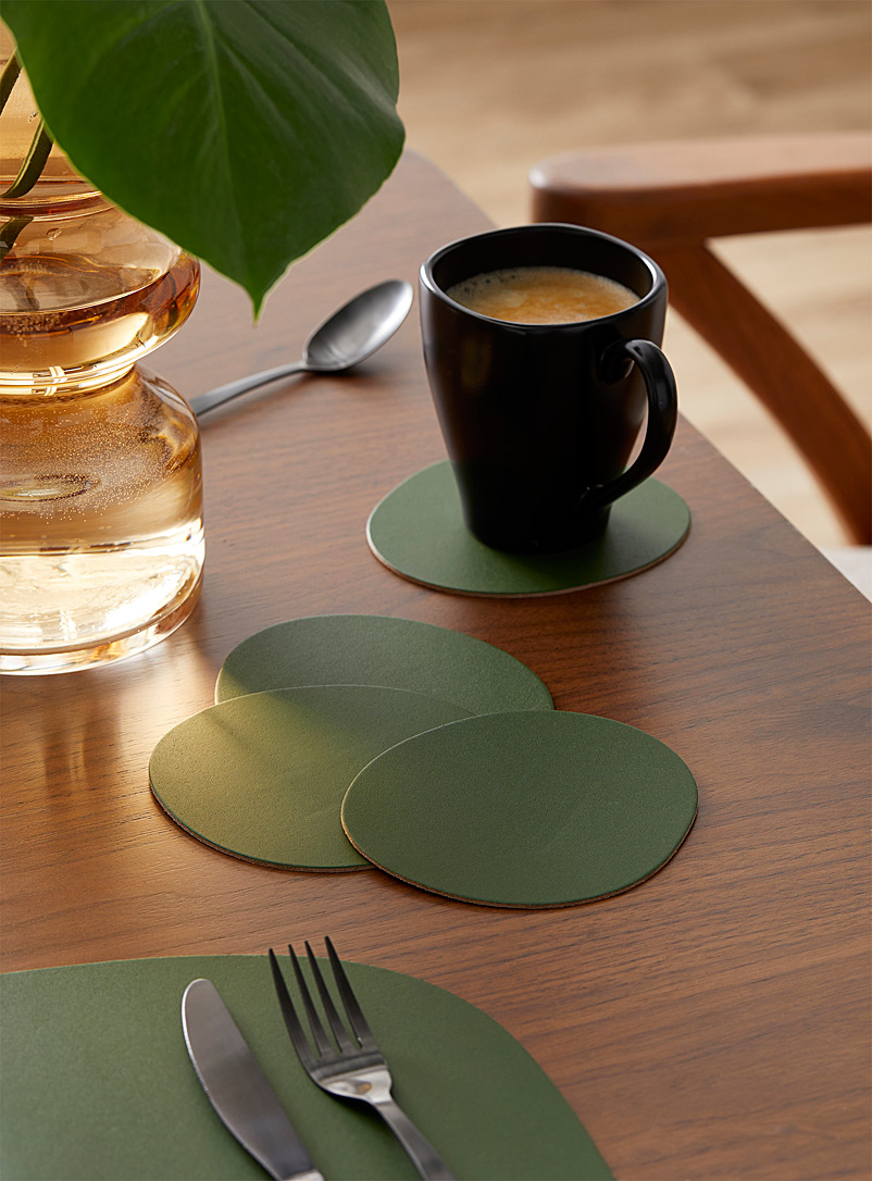 Vacavaliente Bottle Green Forest green recycled leather coasters Set of 4