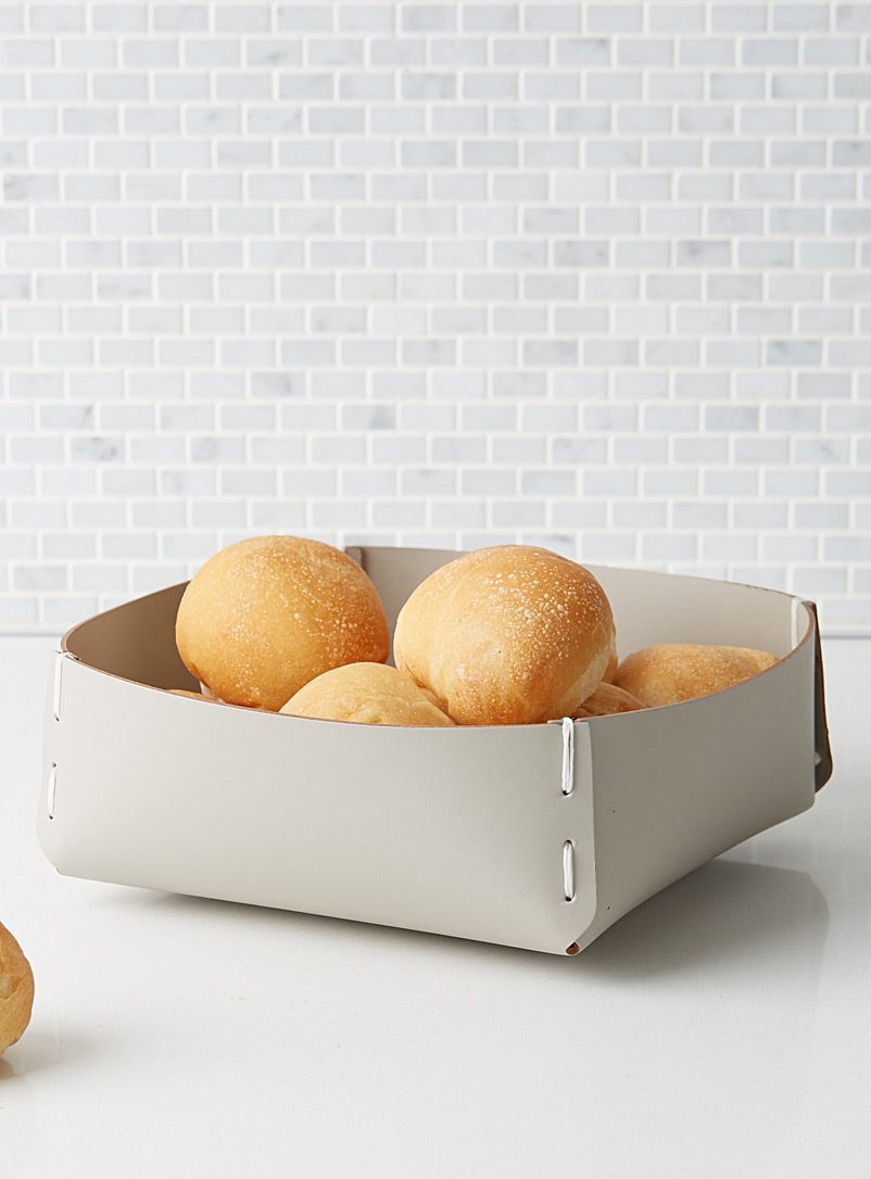Recycled leather bread basket - Fruit Bowls & Baskets - Light Grey