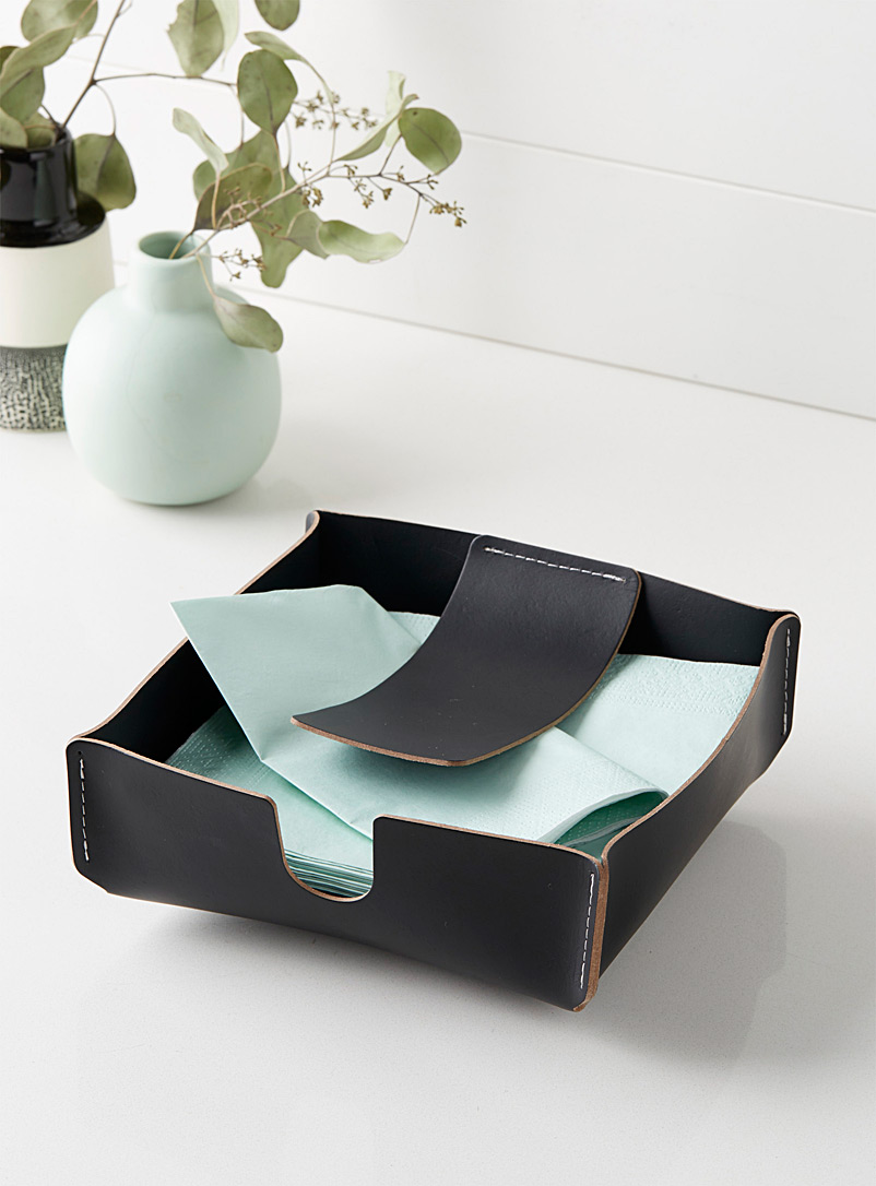 Recycled leather napkin holder - Kitchen Tools & Accessories - Black