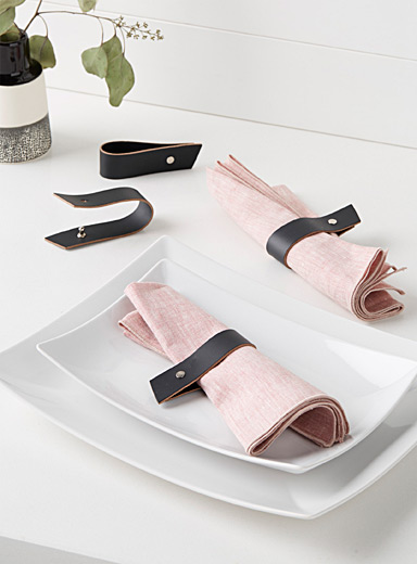 Recycled leather napkin rings  Set of 4
