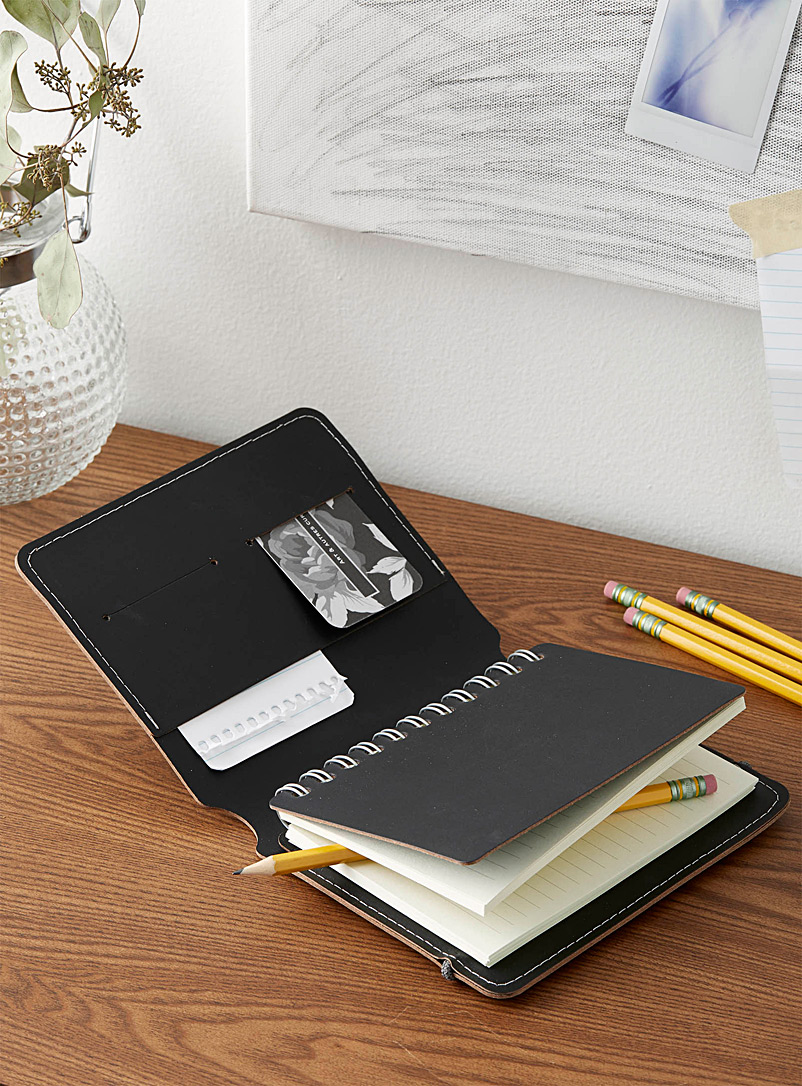 A6 Madison recycled leather notebook - Stylish Objects & Decor Accents - Black