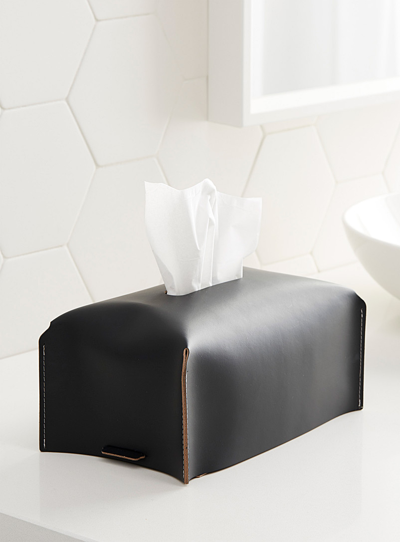Vacavaliente Black Recycled leather tissue box