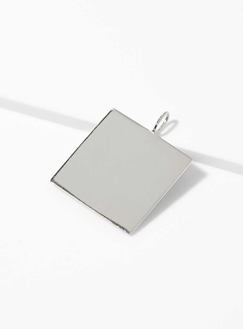 Maya Magal London Silver Silvery square pendant for women