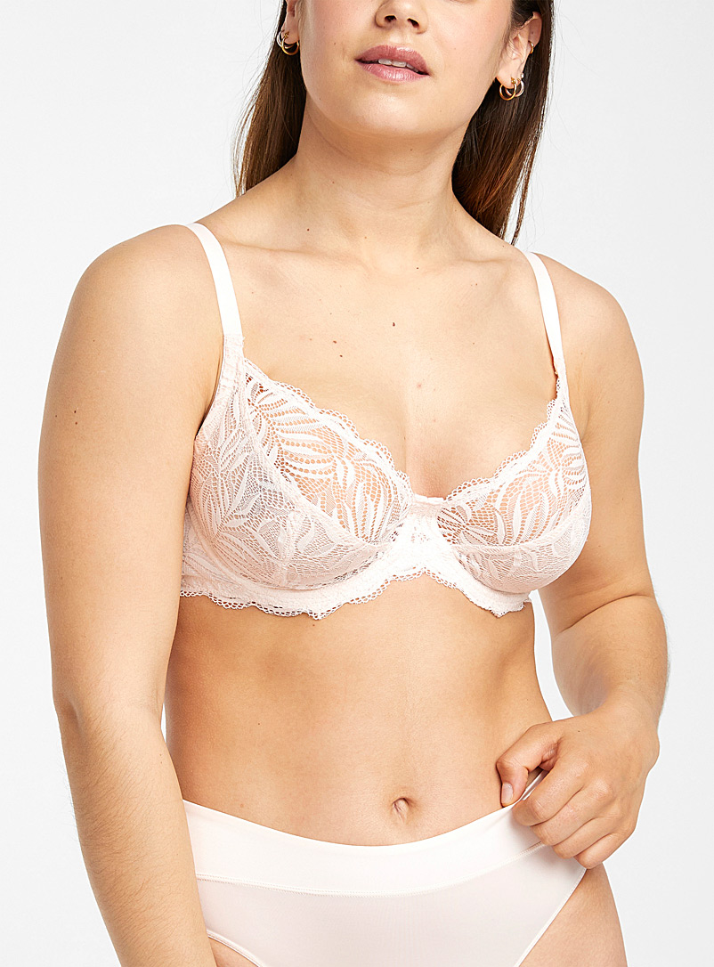 Miiyu Dusky Pink Scalloped-lace Orion full coverage bra for women