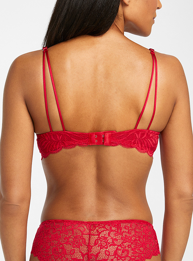 Miiyu Red Scalloped leafy lace push-up bra for women