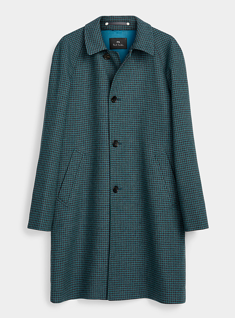 PS Paul Smith Green Micro check coat for men